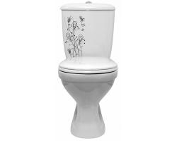 Унитаз напольный Оскольская керамика Суперкомпакт 44901110202 (антивсплеск, цветы)