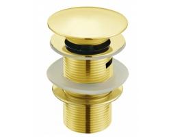 Донный клапан Melana MLN-TB51 (золото, для раковины с переливом, click-clack)