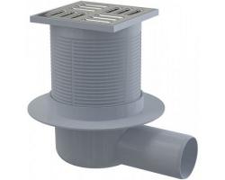 Трап для душа AlcaPlast APV1 105x105 мм. (решетка нержавеющая сталь, хром глянец, мокрый  гидрозатвор)