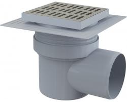 Трап для душа AlcaPlast APV12 150х150 мм. (решетка нержавеющая сталь, хром глянец, мокрый гидрозатвор)