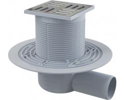 Трап для душа AlcaPlast APV1311 105x105 мм. (решетка нержавеющая сталь, хром глянец, мокрый гидрозатвор)