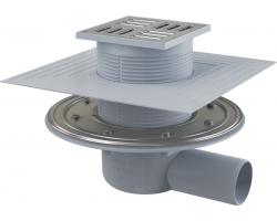 Трап для душа AlcaPlast APV1324 105x105 мм. (решетка нержавеющая сталь, хром глянец, комбинированный гидрозатвор Smart)