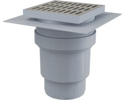 Трап для душа AlcaPlast APV13 150х150 мм. (вертикальный, решетка нержавеющая сталь, хром глянец, мокрый гидрозатвор)