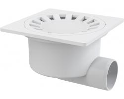 Трап для душа AlcaPlast APV15 150х150 мм. (решетка пластиковая, белый, мокрый гидрозатвор)