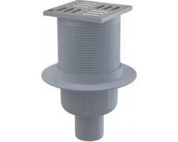 Трап для душа AlcaPlast APV202 105x105 мм. (вертикальный, решетка нержавеющая сталь, хром глянец, мокрый гидрозатвор)
