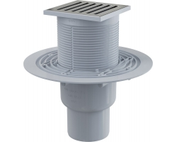 Трап для душа AlcaPlast APV203 105x105 мм. (вертикальный, решетка нержавеющая сталь, хром глянец, мокрый гидрозатвор)