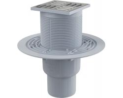 Трап для душа AlcaPlast APV2311 105x105 мм. (вертикальный, решетка нержавеющая сталь, хром глянец, мокрый гидрозатвор)