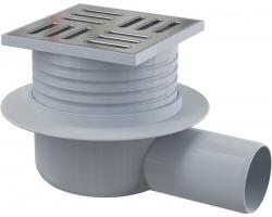Трап для душа AlcaPlast APV26 105x105 мм. (решетка нержавеющая сталь, хром глянец, мокрый гидрозатвор)