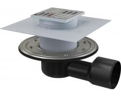 Трап для душа AlcaPlast APV3344 105x105 мм. (решетка нержавеющая сталь, хром глянец, комбинированный гидрозатвор)