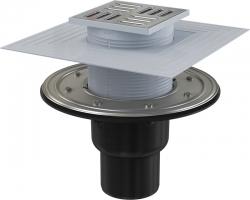 Трап для душа AlcaPlast APV4344 105x105 мм. (вертикальный, решетка нержавеющая сталь, хром глянец, комбинированный гидрозатвор)