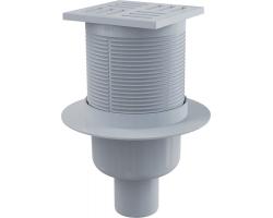 Трап для душа AlcaPlast APV6111 105х105 мм. (вертикальный, решетка пластиковая, серая, мокрый гидрозатвор)