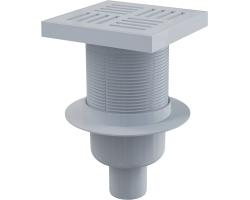 Трап для душа AlcaPlast APV6211 150х150 мм. (вертикальный, решетка пластиковая, серая, мокрый гидрозатвор)