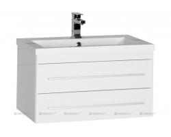 Тумба с раковиной Акванет/Aquanet Нота 75 75 см. 171487 (белая, подвесная, два ящика)