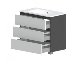 Тумба Астра-Форм Альфа 70 700х500 (белый глянец, три ящика)