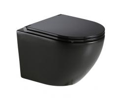 Унитаз подвесной Azario Teramo AZ-0053 (черный, безободковый, микролифт)
