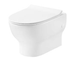 Унитаз подвесной Creo Ceramique Brest BR1100R+BR1001 (белый, безободковый, микролифт)