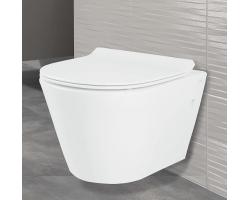 Унитаз подвесной Creo Ceramique Creo CR1100R+CR1001 (белый, безободковый, микролифт)