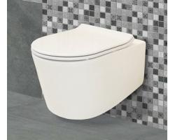 Унитаз подвесной Creo Ceramique Rennes RE1100R+RE1001T (белый, безободковый, микролифт)