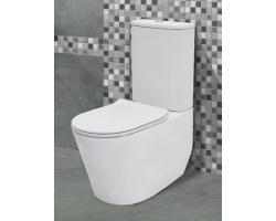 Унитаз напольный Creo Ceramique Rennes RE1002R+RE1003+RE1001T (белый, безободковый, микролифт)