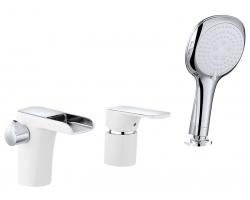 Смеситель для ванны на 3 отверстия D&K Berlin Steinbeis DA1434216 (белый-хром глянец, врезной на борт ванны)
