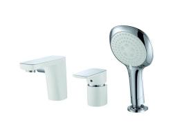 Смеситель для ванны на 3 отверстия D&K Berlin Steinbeis DA1434916 (белый-хром глянец, врезной на борт ванны)