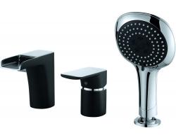 Смеситель для ванны на 3 отверстия D&K Berlin Technische DA1434215 (чёрный-хром глянец, врезной на борт ванны)