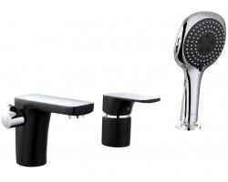 Смеситель для ванны на 3 отверстия D&K Berlin Technische DA1434915 (чёрный-хром глянец, врезной на борт ванны)