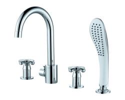 Смеситель для ванны на 4 отверстия D&K Hessen Lorsch DA1414901 (хром глянец, врезной на борт ванны)