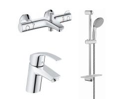 Комплект смесителей для ванной комнаты Grohe Eurosmart с термостатом Grohe Grohtherm 800 124422