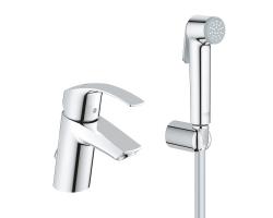 Смеситель для раковины с гигиеническим душем Grohe Eurosmart New 23124002 (хром глянец, с цепочкой)