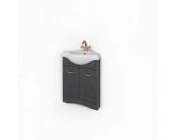 Тумба Какса-А Патина 53 53 см. 4354 (черная с золотом, напольная, угловая, две двери)