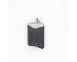 Тумба Какса-А Патина 53 53 см. 4363 (черная с белым, напольная, угловая, две двери)