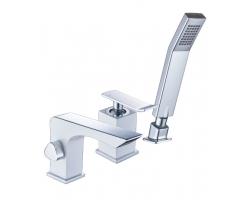 Смеситель для ванны на 3 отверстия Lemark Contest LM5845CW (хром глянец-белый, врезной на борт ванны)