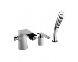Смеситель для ванны на 3 отверстия Lemark Melange LM4945CW (хром глянец-белый, врезной на борт ванны)