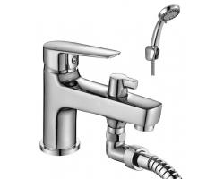 Смеситель для ванны Rossinka Серия S S35-38 (хром глянец, с душевым комплектом, врезной на борт ванны)