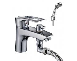 Смеситель для ванны Rossinka Серия T T40-38 (хром глянец, с душевым комплектом, врезной на борт ванны)
