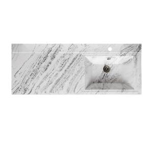 Раковина Runo Solo Grande Gamma 120 120 см. (белый мрамор, левая)
