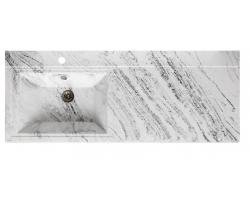Раковина Runo Solo Grande Gamma 120 120 см. (белый мрамор, правая, для установки над стиральной машинкой)