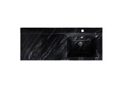 Раковина Runo Solo Grande Gamma 120 120 см. (чёрный мрамор, левая, для установки над стиральной машинкой)