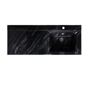 Раковина Runo Solo Grande Gamma 120 120 см. (чёрный мрамор, левая)