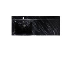 Раковина Runo Solo Grande Gamma 120 120 см. (чёрный мрамор, правая, для установки над стиральной машинкой)
