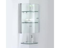 Шкаф подвесной угловой SSWW Z012 353х340 (прозрачное стекло, профиль серебристый глянец)