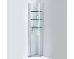 Шкаф подвесной угловой SSWW Z013A 353х340 (прозрачное стекло, профиль серебристый глянец)