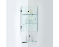 Шкаф подвесной угловой SSWW Z022 340х382 (прозрачное стекло, профиль серебристый глянец)