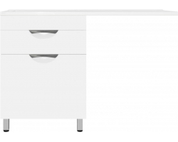 Тумба с раковиной напольная Style Line Жасмин-2 120 L Люкс Plus ЛС-00000645/СС-00000367 120 см. (белая, левая, с бельевой корзиной)
