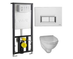 Комплект инсталляция Vitra 742-5800-01 и унитаз Vitra Arkitekt 9005B003-7211 (дюропластовое сиденье, клавиша хром)