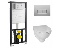 Комплект инсталляция Vitra 742-5800-01 и унитаз Vitra Arkitekt 9005B003-7212 (дюропластовое сиденье, клавиша матовый хром)