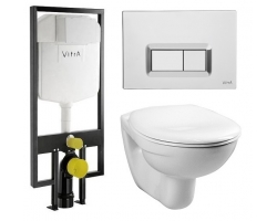 Комплект инсталляция Vitra 740-5800-01 и унитаз Vitra Normus 9773B003-7200 (сиденье микролифт, клавиша хром)