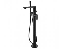 Смеситель для ванны WasserKraft Elbe 7421 (черный Soft-touch, напольного монтажа)