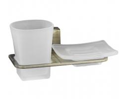 Держатель стакана и мыльницы WasserKraft Exter К-5226 (светлая бронза)